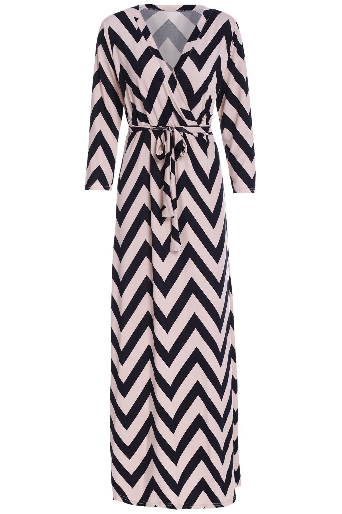 Sexy 3/4 Sleeve Plunging Neck Wave Printed Women's Maxi Dress - BLACK S