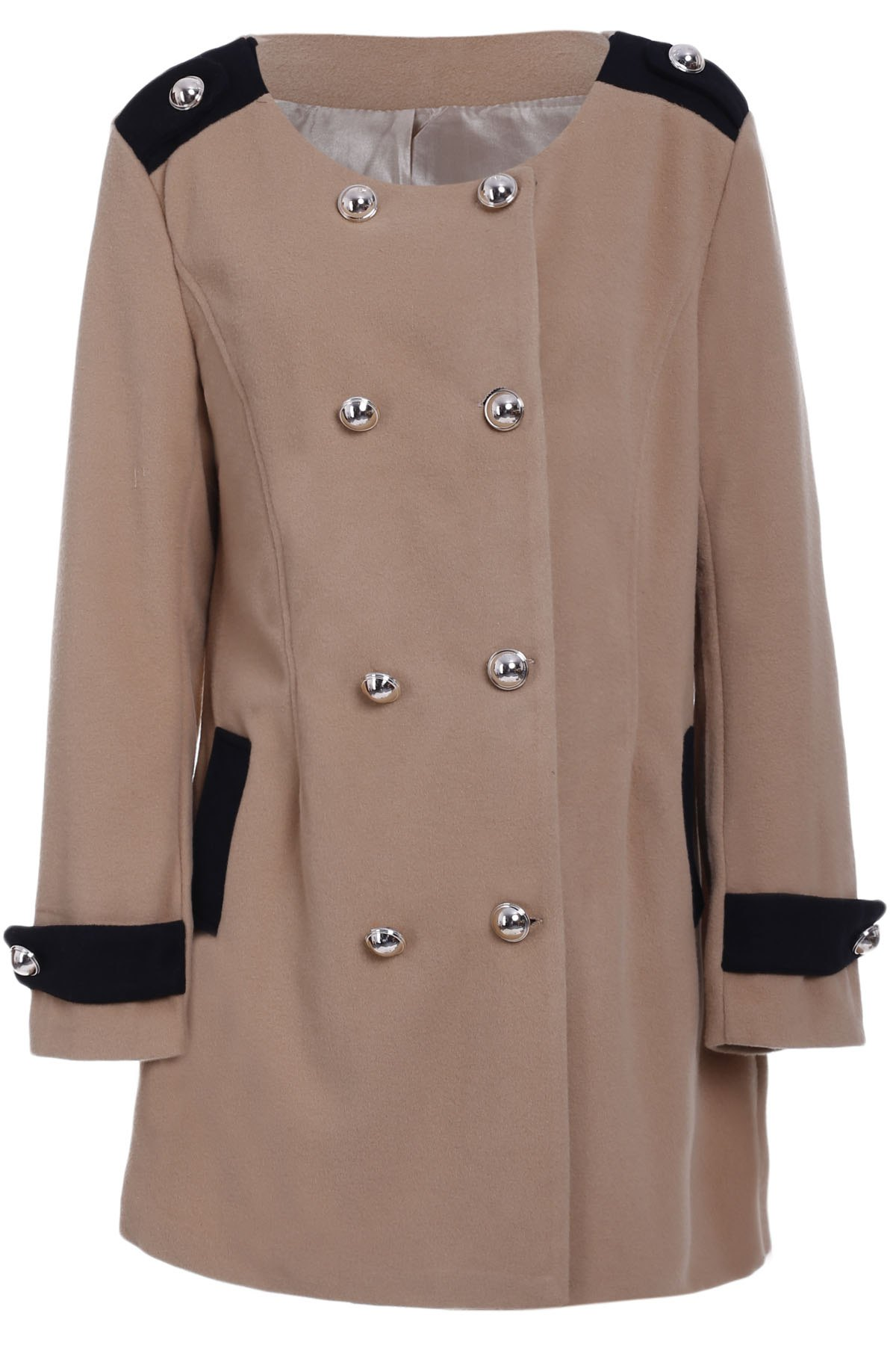 Womens Chic Turn-Down Collar Long Sleeve Double-Breasted Woolen CoatWomen<br><br><br>Size: M<br>Color: CAMEL