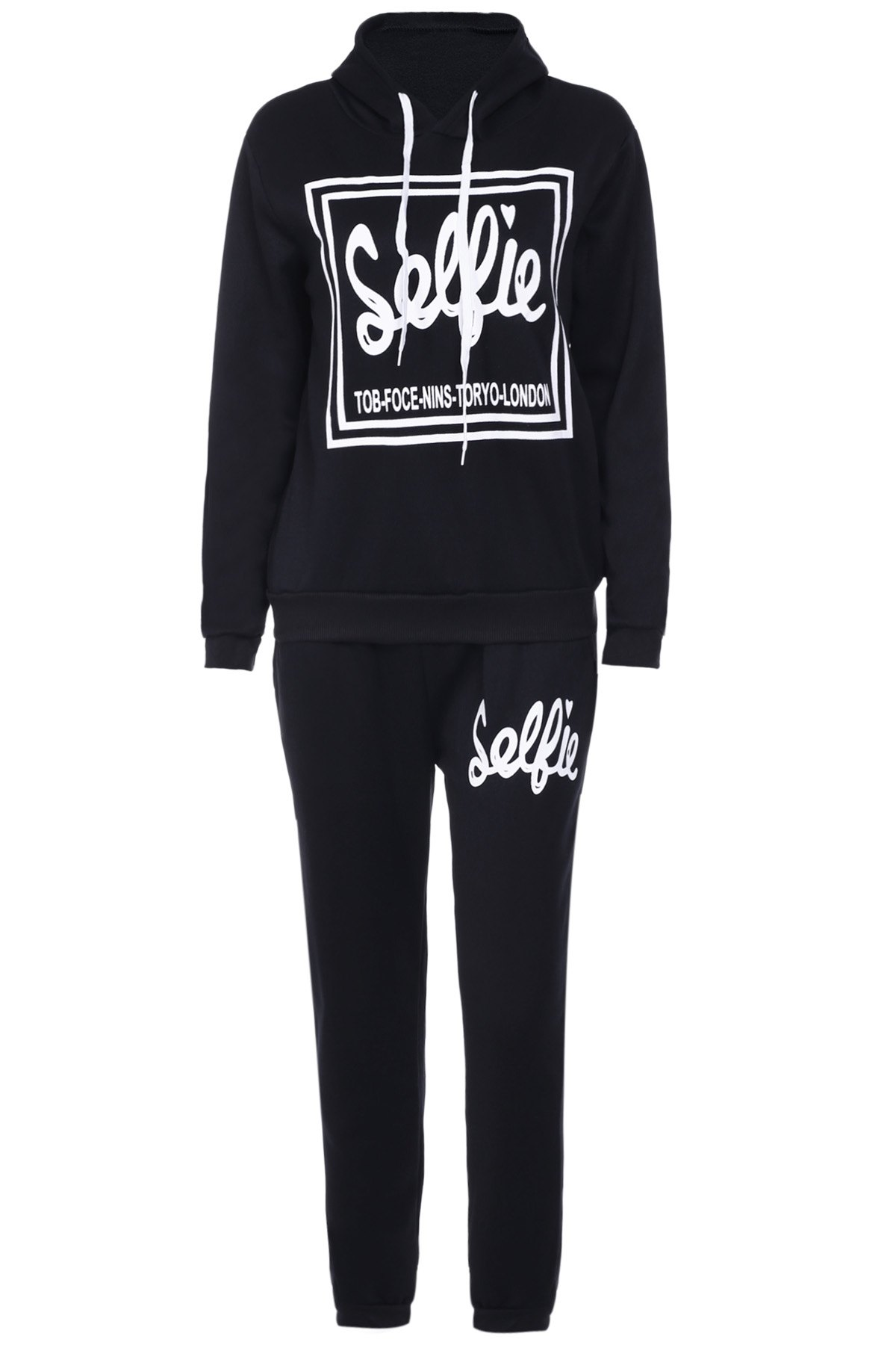 Active Women's Hooded Long Sleeve Letter Printed Hoodie and Pants Suit - BLACK S