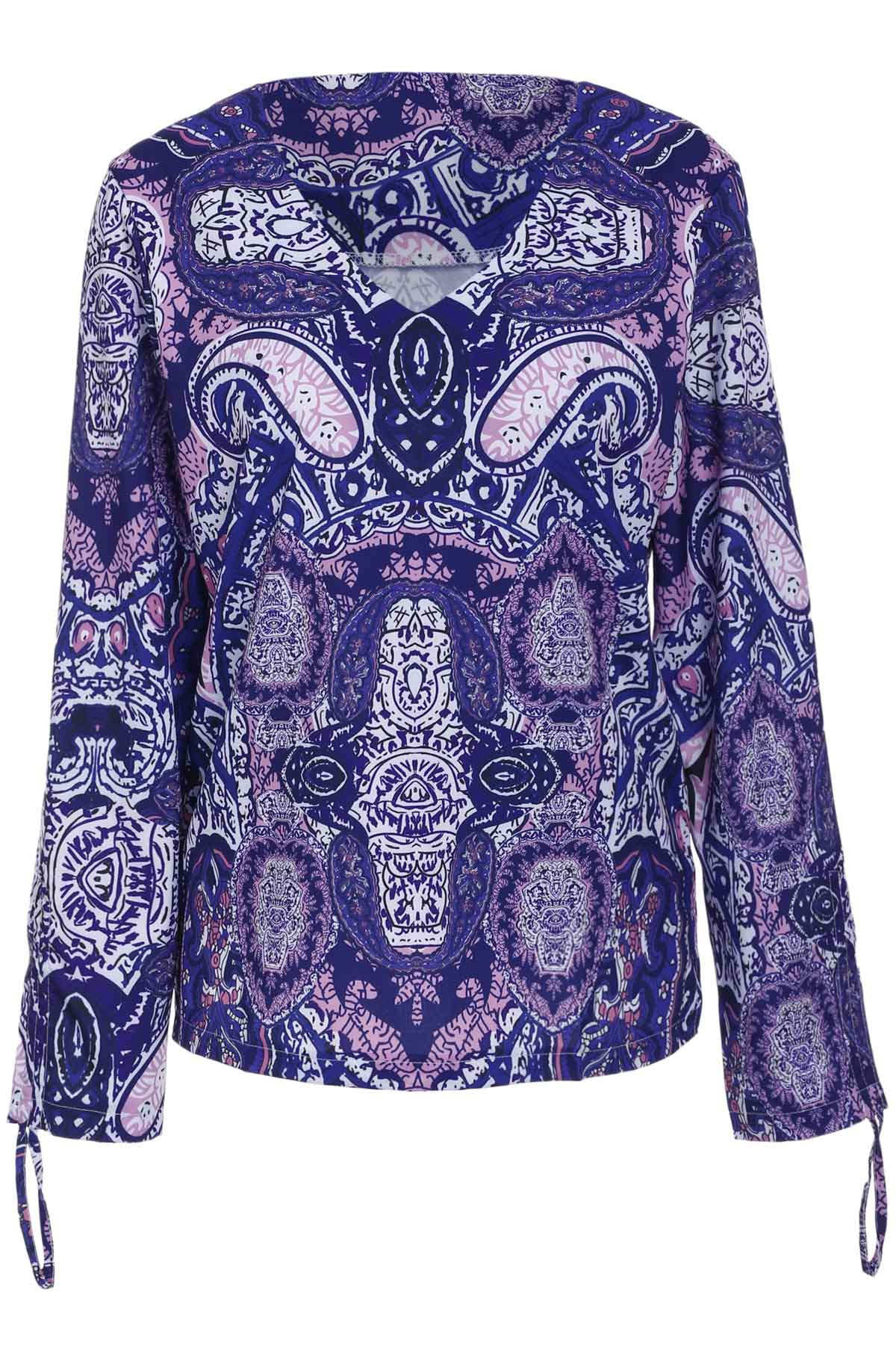 Women's Long Sleeve V-Neck Ethnic Print Blouse - COLORMIX L