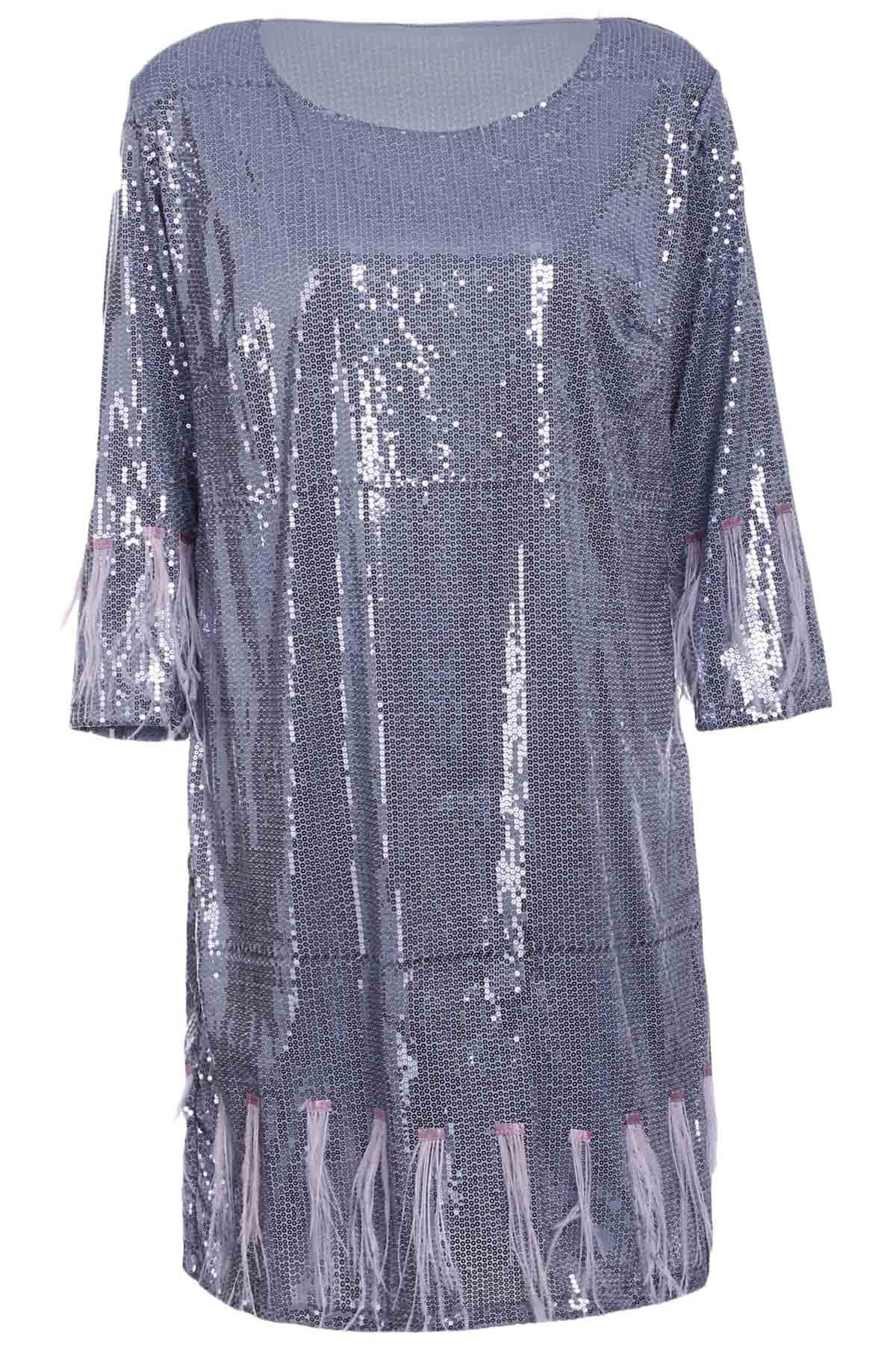 Stylish Women's Scoop Neck 3/4 Sleeve Fringed Sequined Dress - SILVER XL