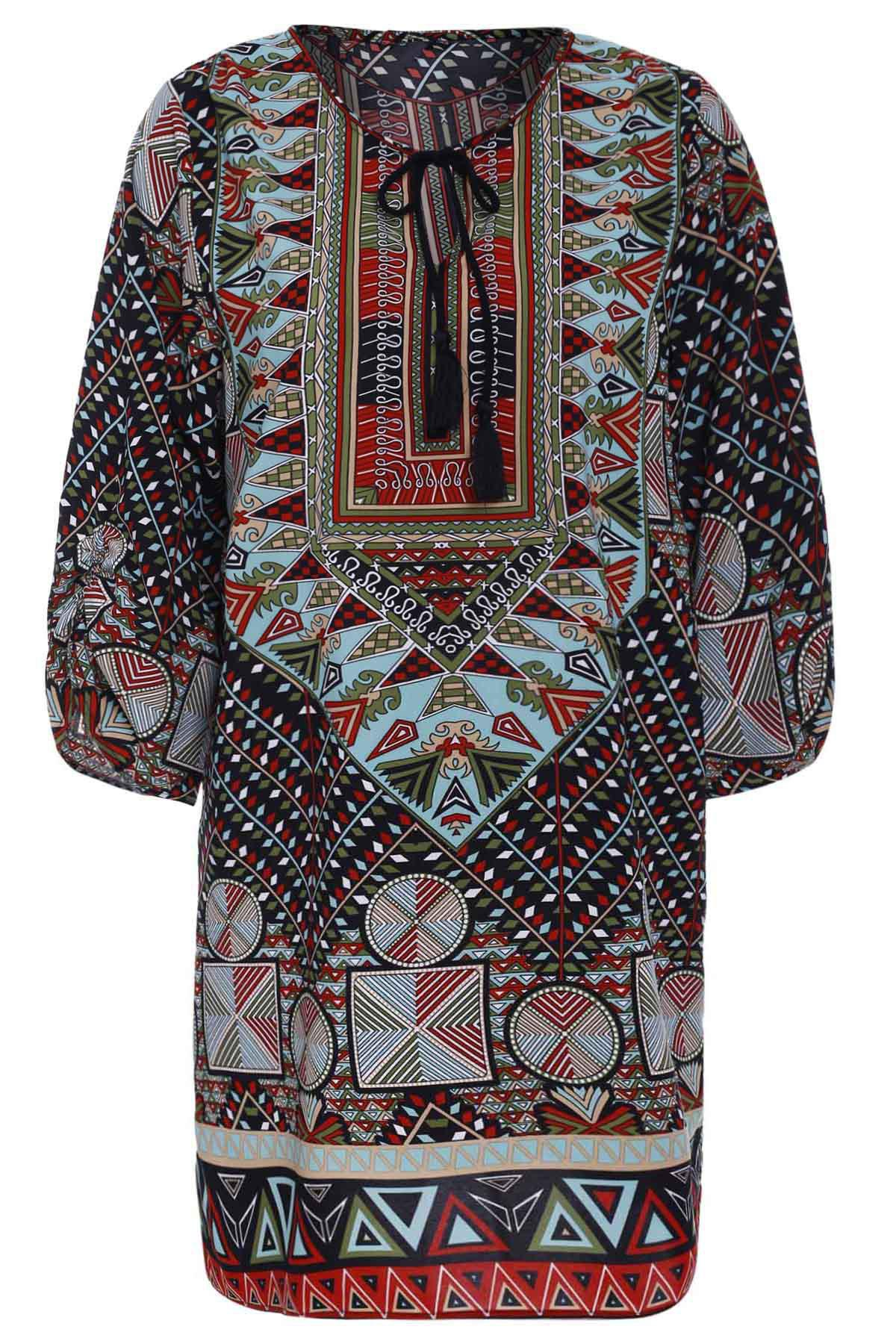 Women's Fashionable 3/4 Sleeve Lace-Up Colorful Ethnic Print V-Neck Dress - COLORMIX L