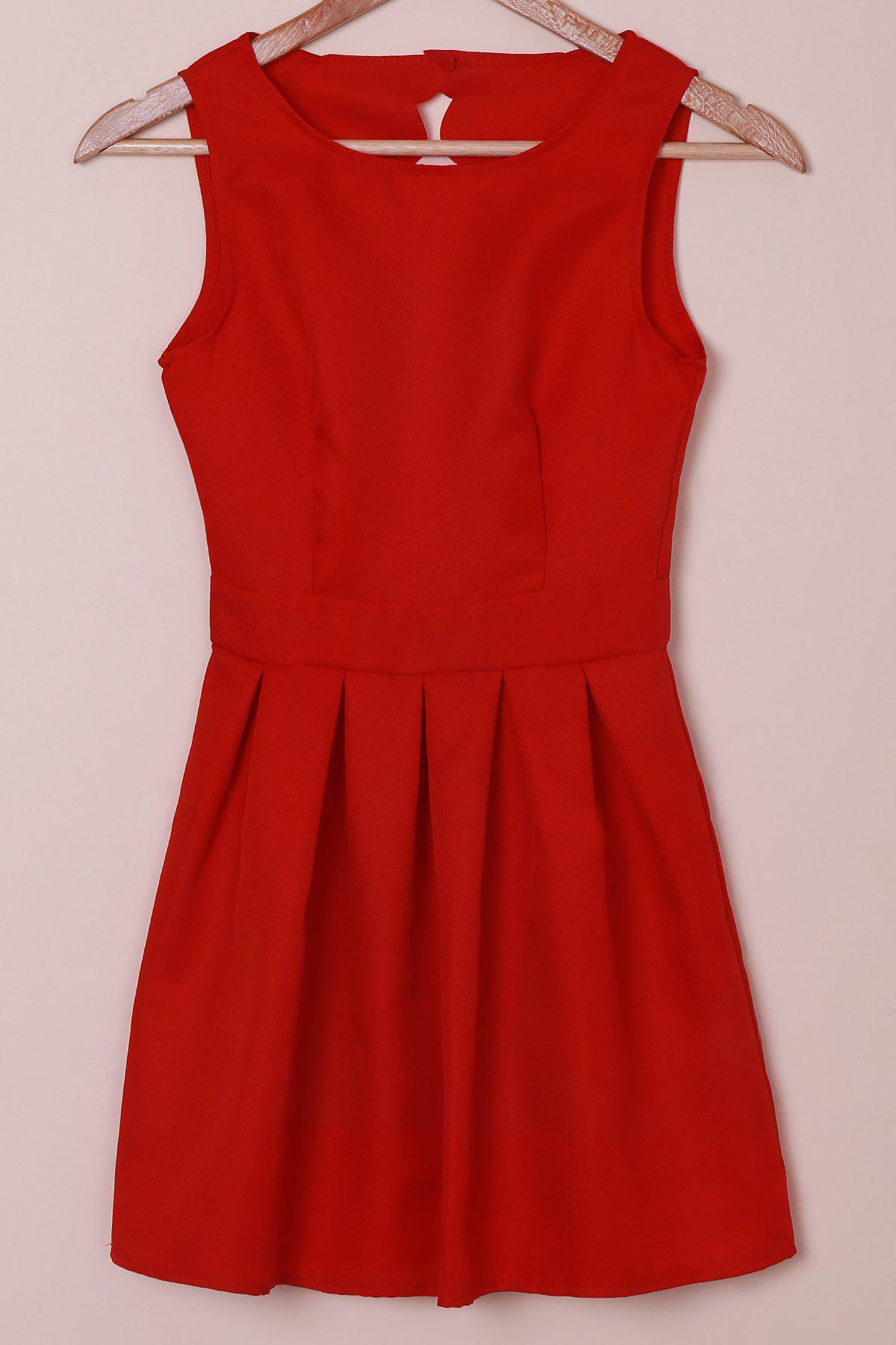 Elegant Round Collar Sleeveless Scalloped Hollow Out Red Women's Dress - RED S
