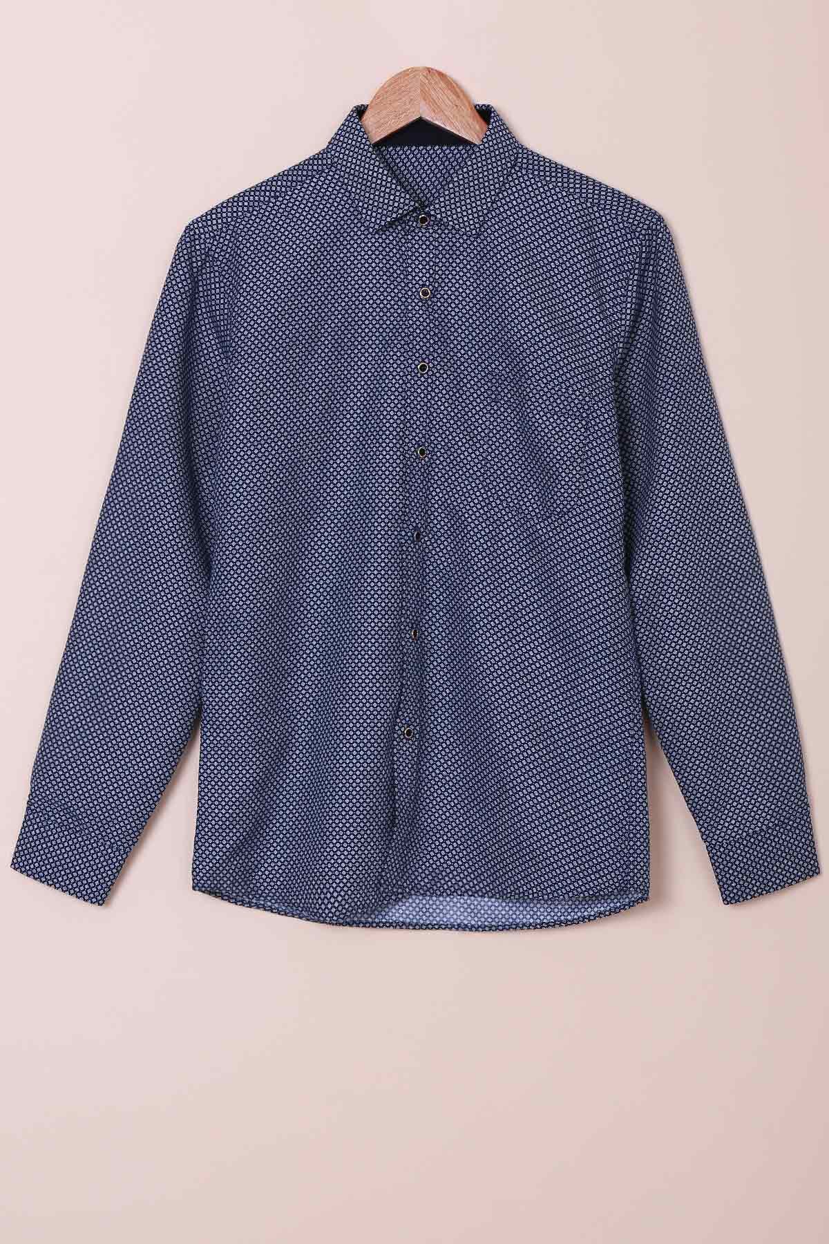 Long Sleeves Single Breasted Checked Shirt For Men - DEEP BLUE XS