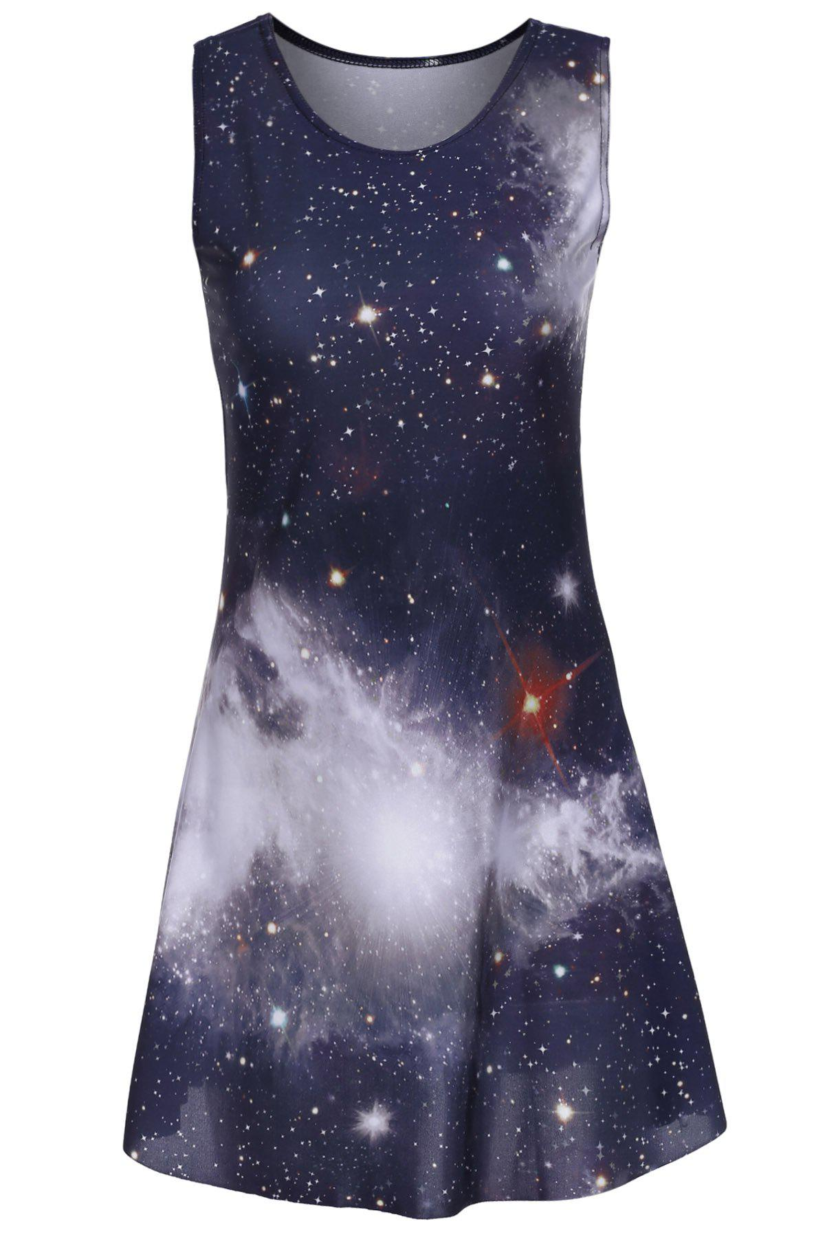 Trendy Women's Scoop Neck Sleeveless Galaxy Printed Dress - BLACK ONE SIZE(FIT SIZE XS TO M)
