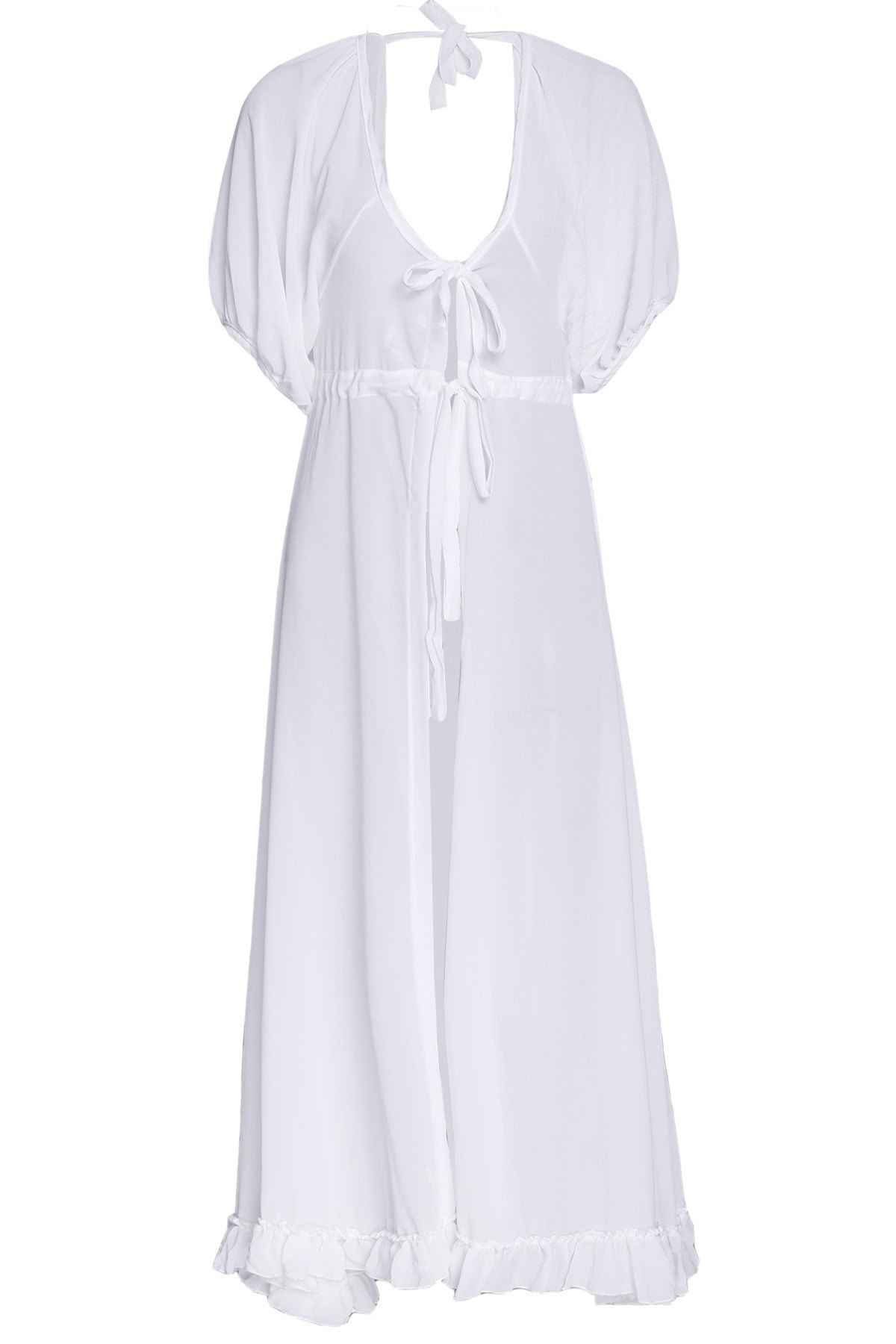 Women's Charming Lace Up White Chiffon Cover-Up - WHITE ONE SIZE