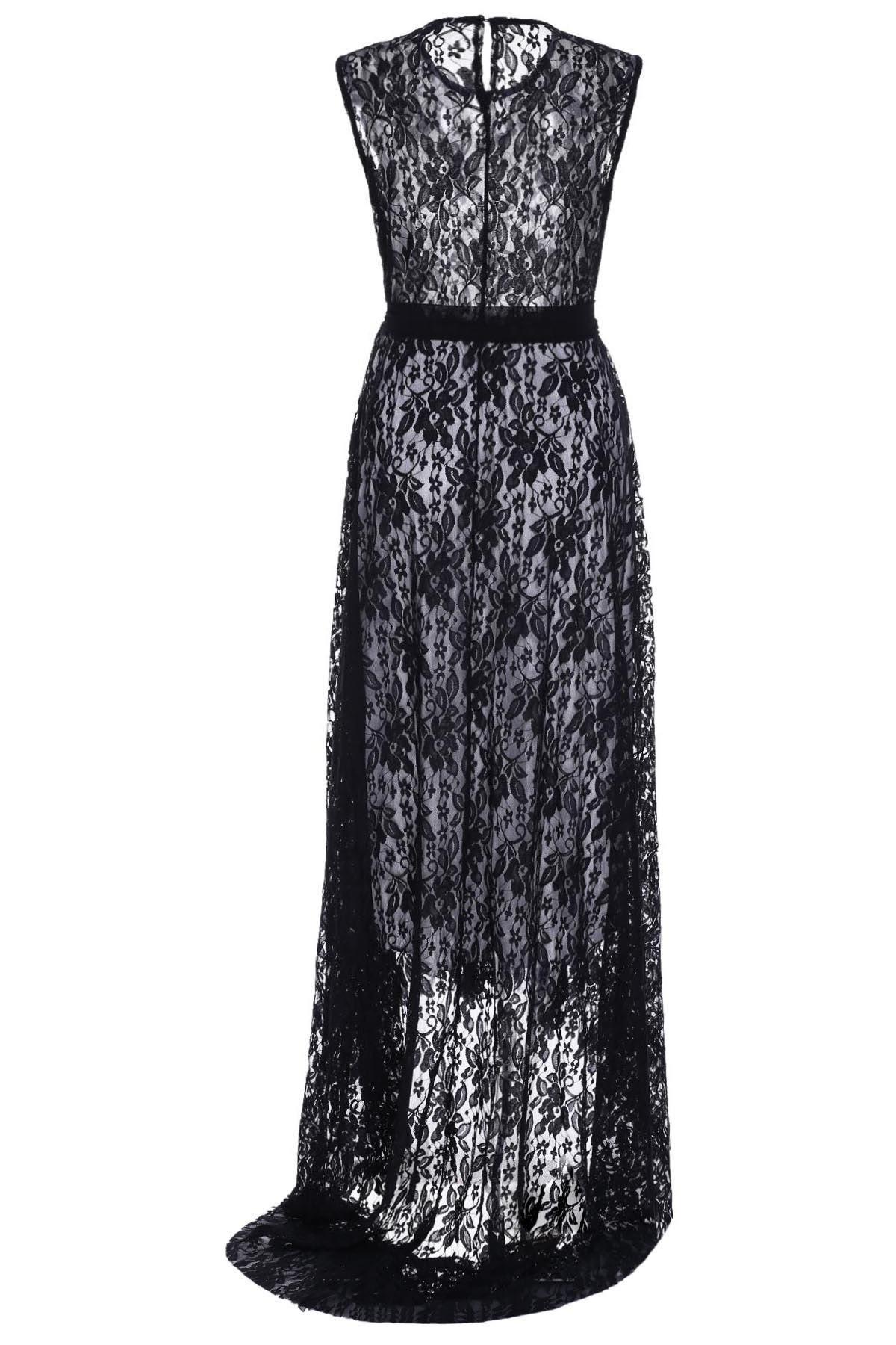 Fashionable Women's Scoop Neck Sleeveless Lace Dress - BLACK XL