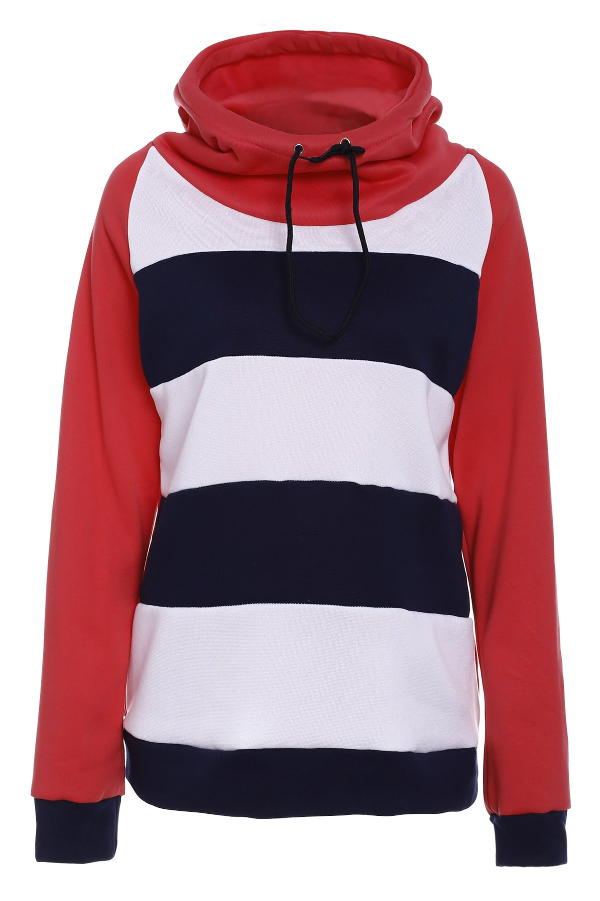 Casual Women's Hooded Long Sleeve Drawstring Striped Hoodie - RED S