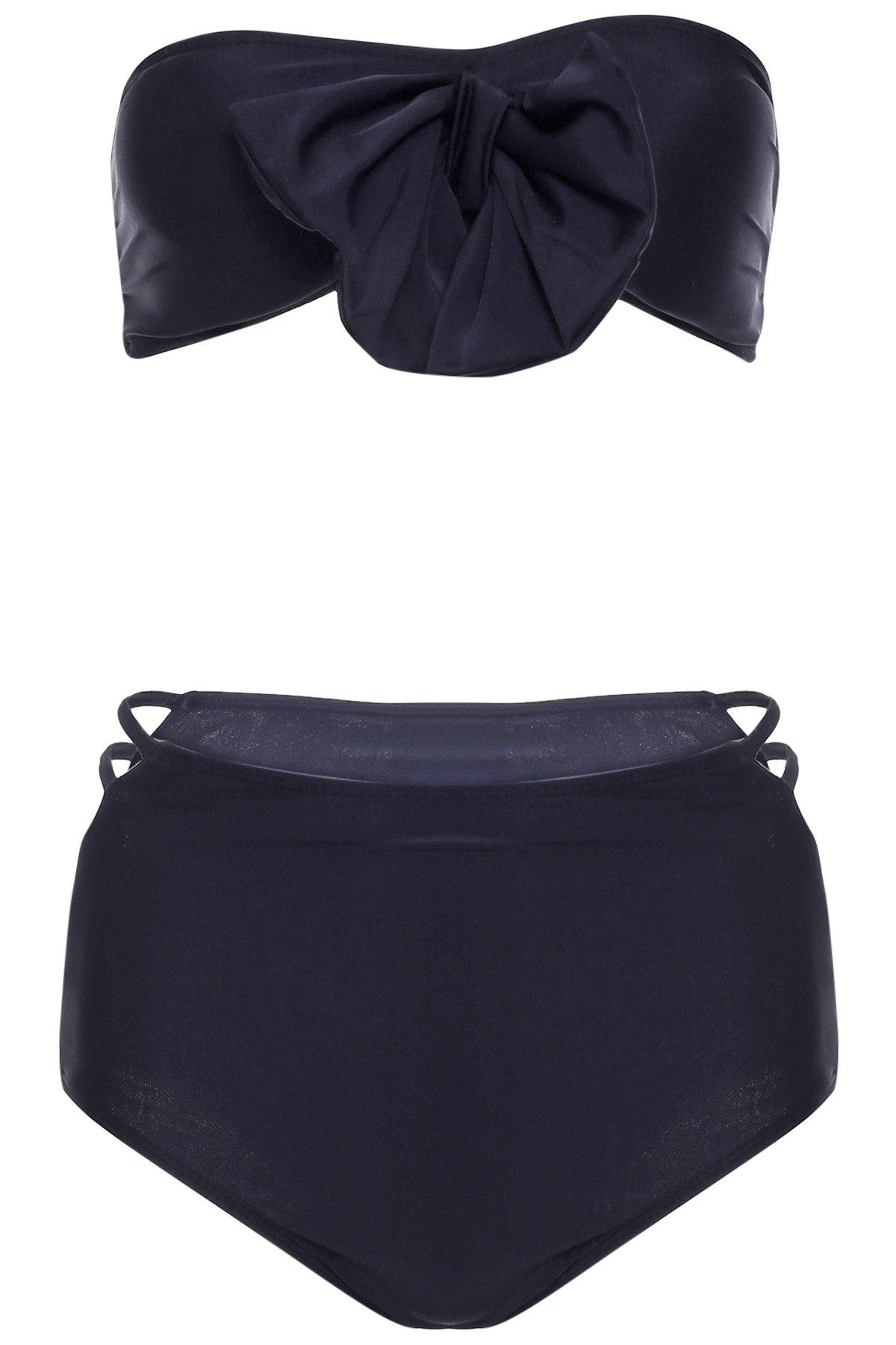 Sexy Strapless Bowknot Embellished Hollow Out Bikini Set For Women - BLACK XL