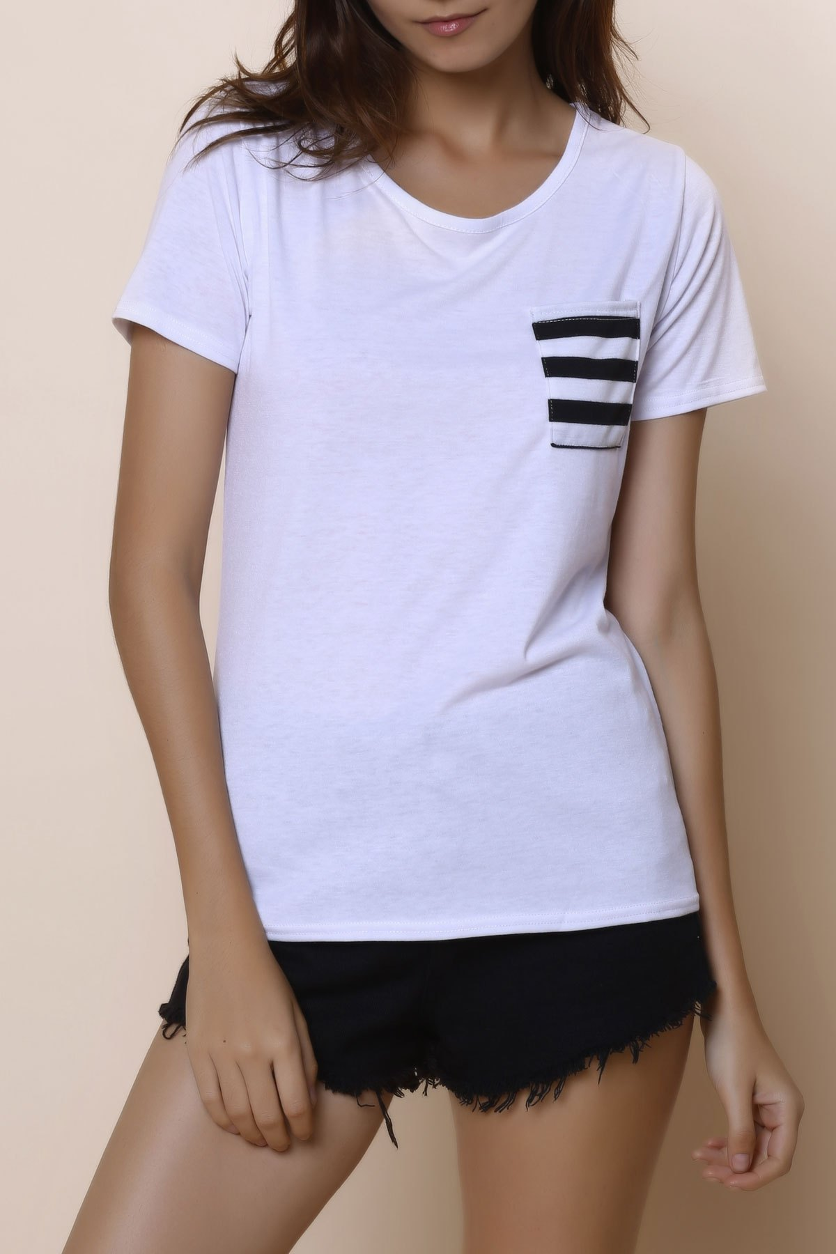 Casual Women's Scoop Neck Striped Short Sleeve Loose-Fitting T-Shirt - WHITE S