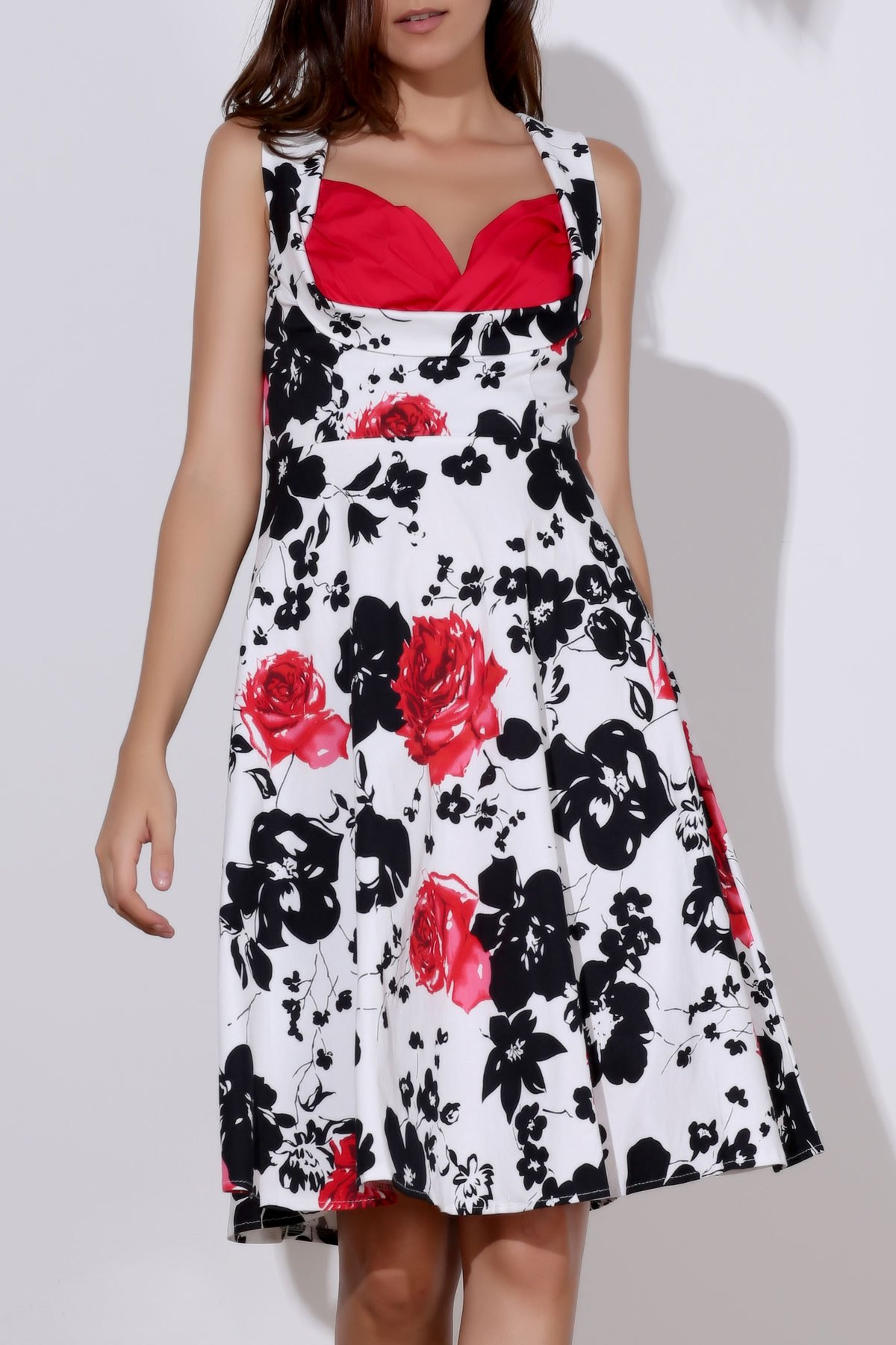 Floral Print Sweetheart Neck Sleeveless Ball Gown Dress For Women - RED M