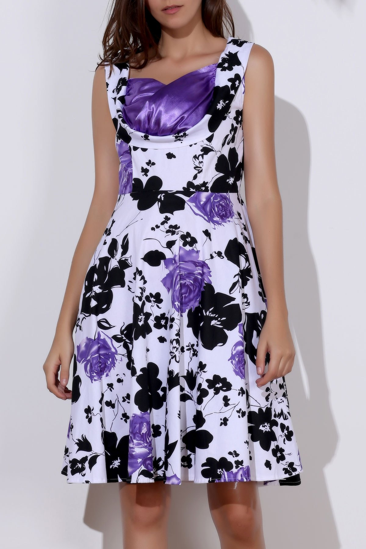 Floral Print Sweetheart Neck Sleeveless Ball Gown Dress For WomenWomen<br><br><br>Size: L<br>Color: PURPLE