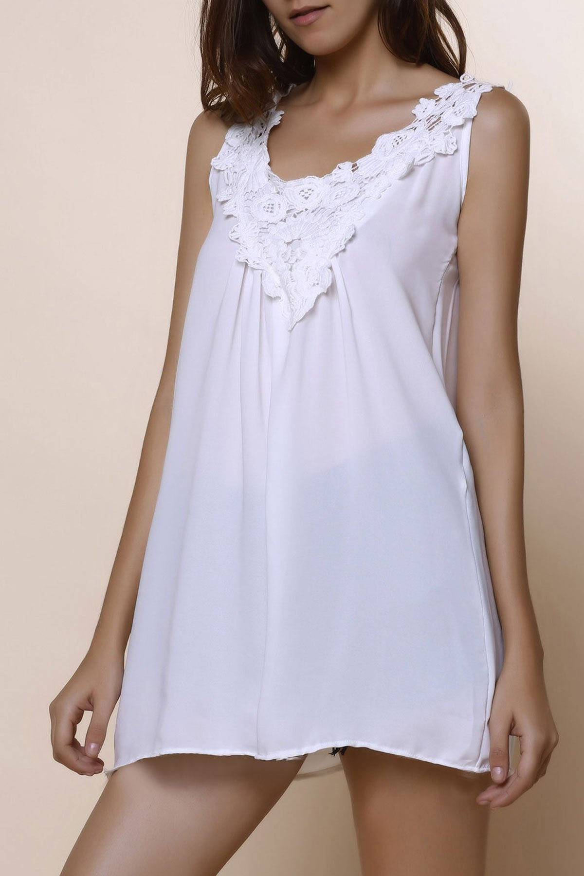 Romantic White Lace Spliced Scoop Neck Tank Top For Women 139474404