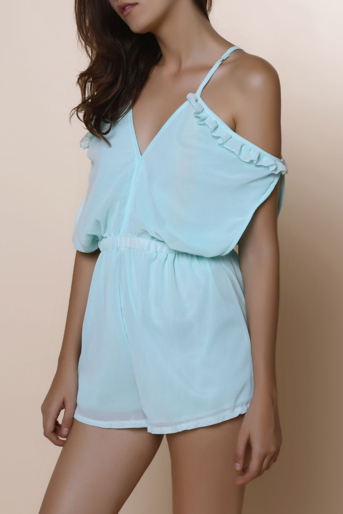 Sexy Spaghetti Strap Solid Color Hollow Out Short Sleeve Women's Chiffon Romper - MINT GREEN S