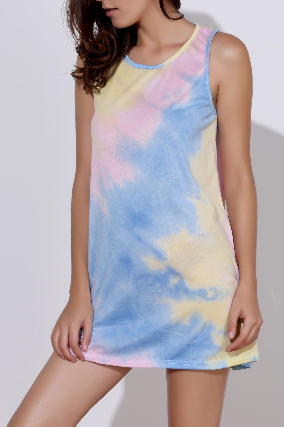 Sexy Sleeveless Round Neck Tie Dye Women's Dress - COLORMIX S
