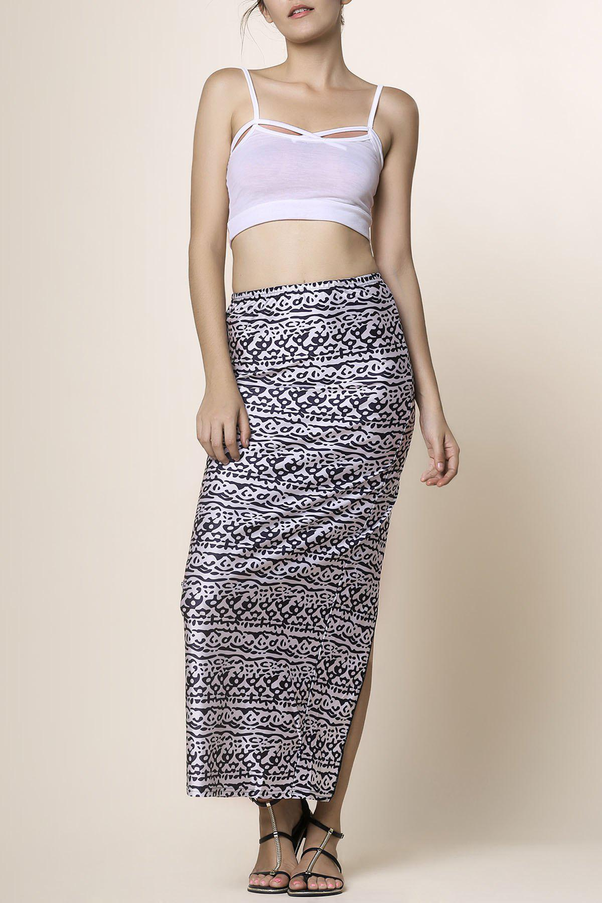 Cami Top with Printed High Waisted Skirt - BLACK S