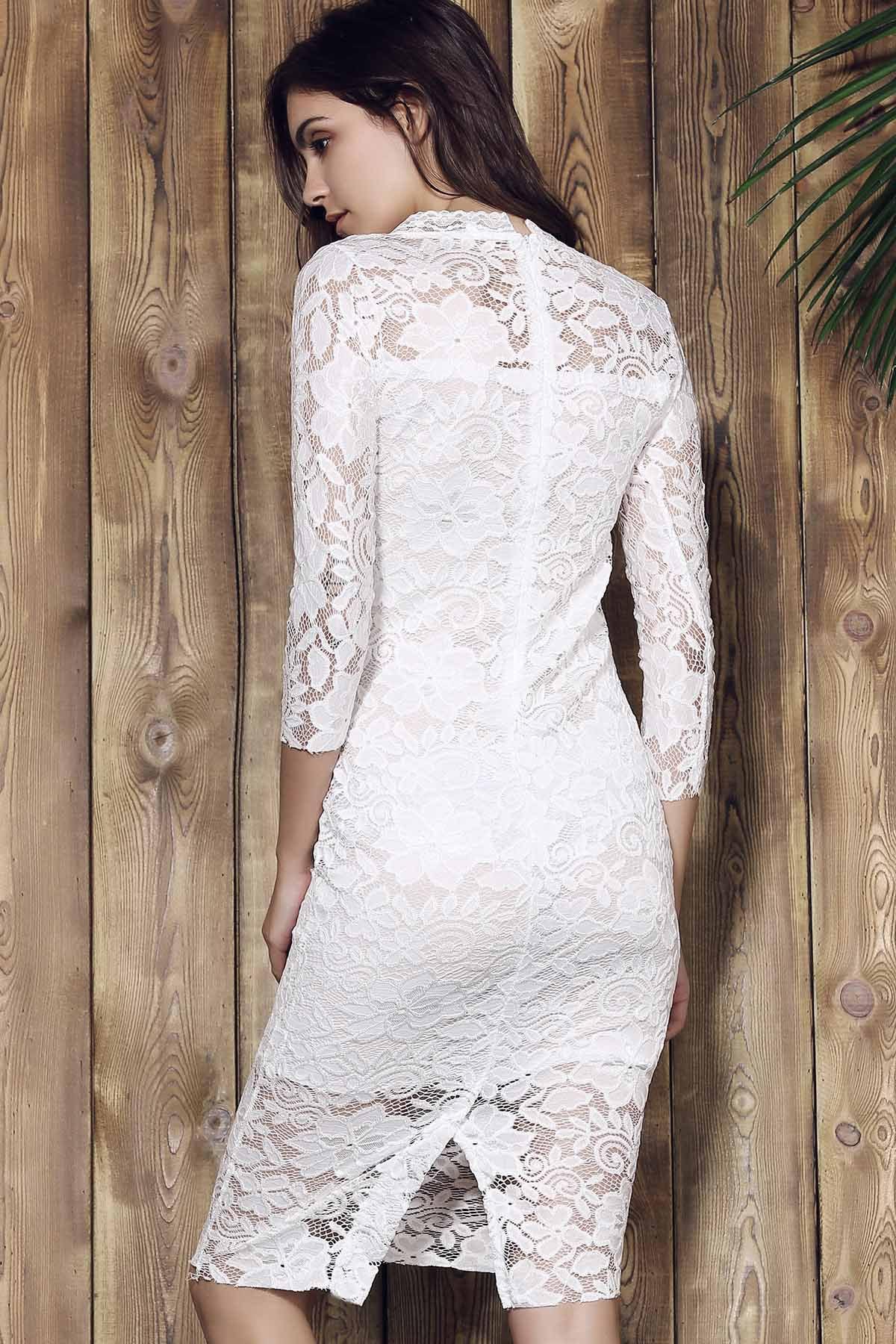 Lace Cut Out Over Hip 3/4 Sleeve Pure Color Dress For Women - WHITE S