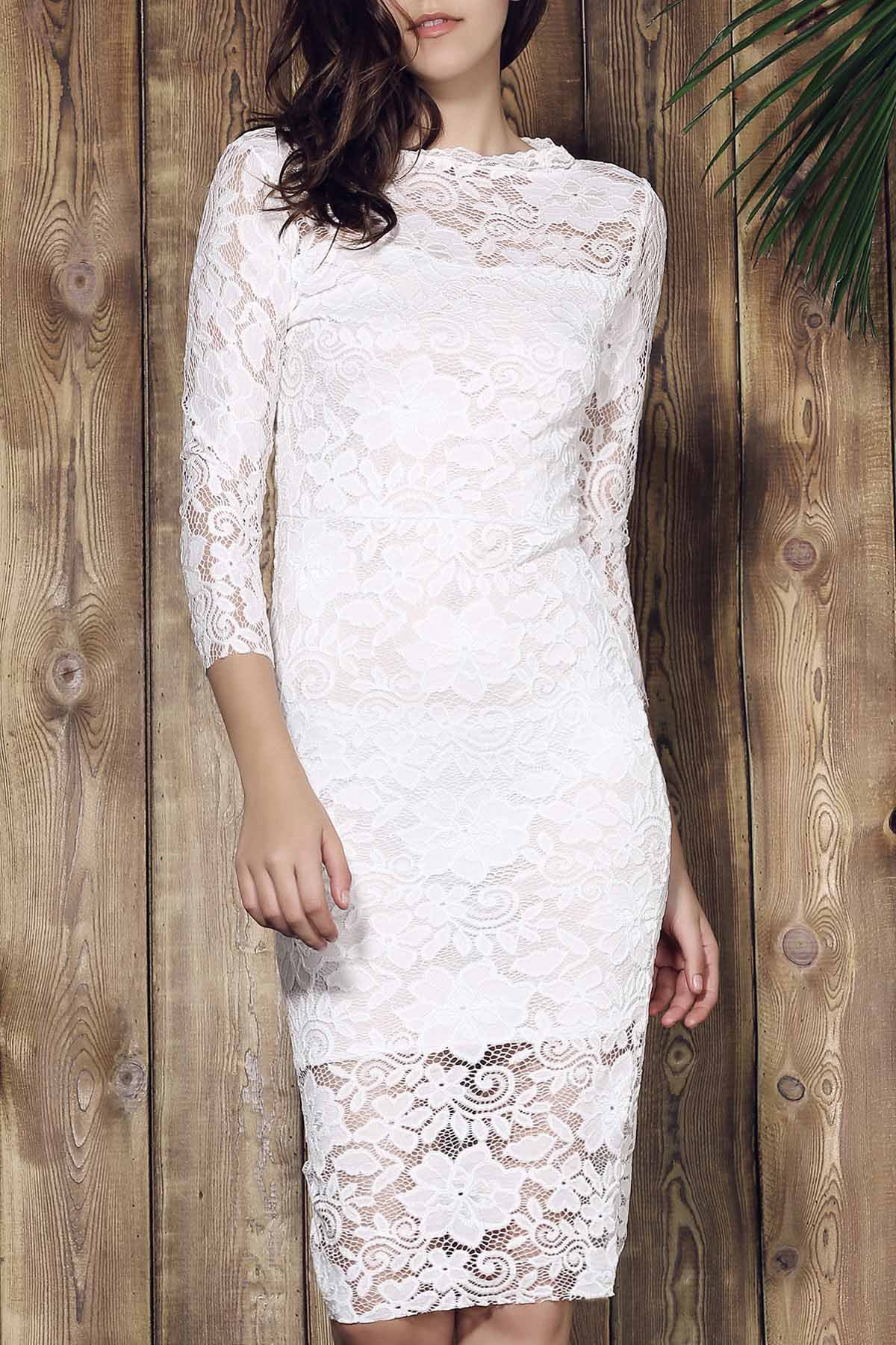 Lace Cut Out Over Hip 3/4 Sleeve Pure Color Dress For Women - WHITE M