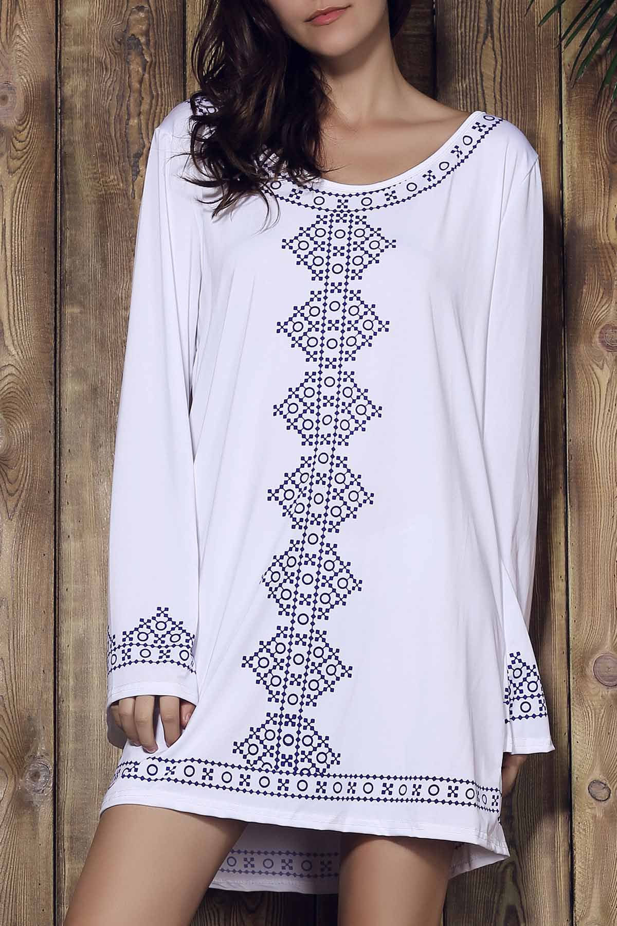 Ethnic Style Low-Cut Scoop Neck Long Sleeve Printed Mini Dress For Women - WHITE S