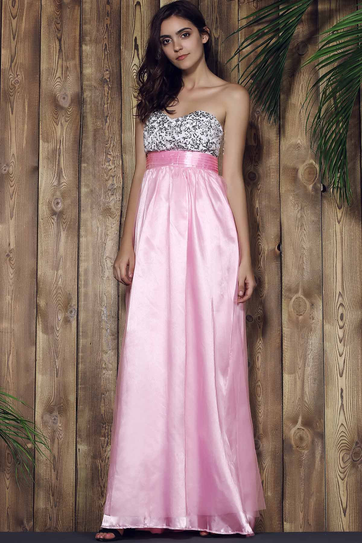 Elegant Sleeveless Strapless Spliced Sequins Embellished Women's Prom Dress - PINK S