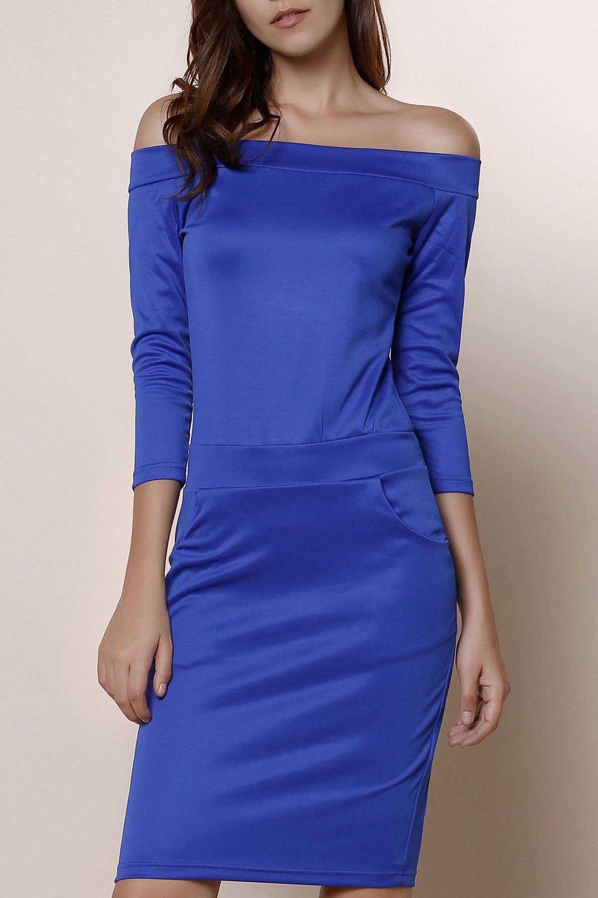 Brief Blue Off The Shoulder Long Sleeve Dress For Women - BLUE S