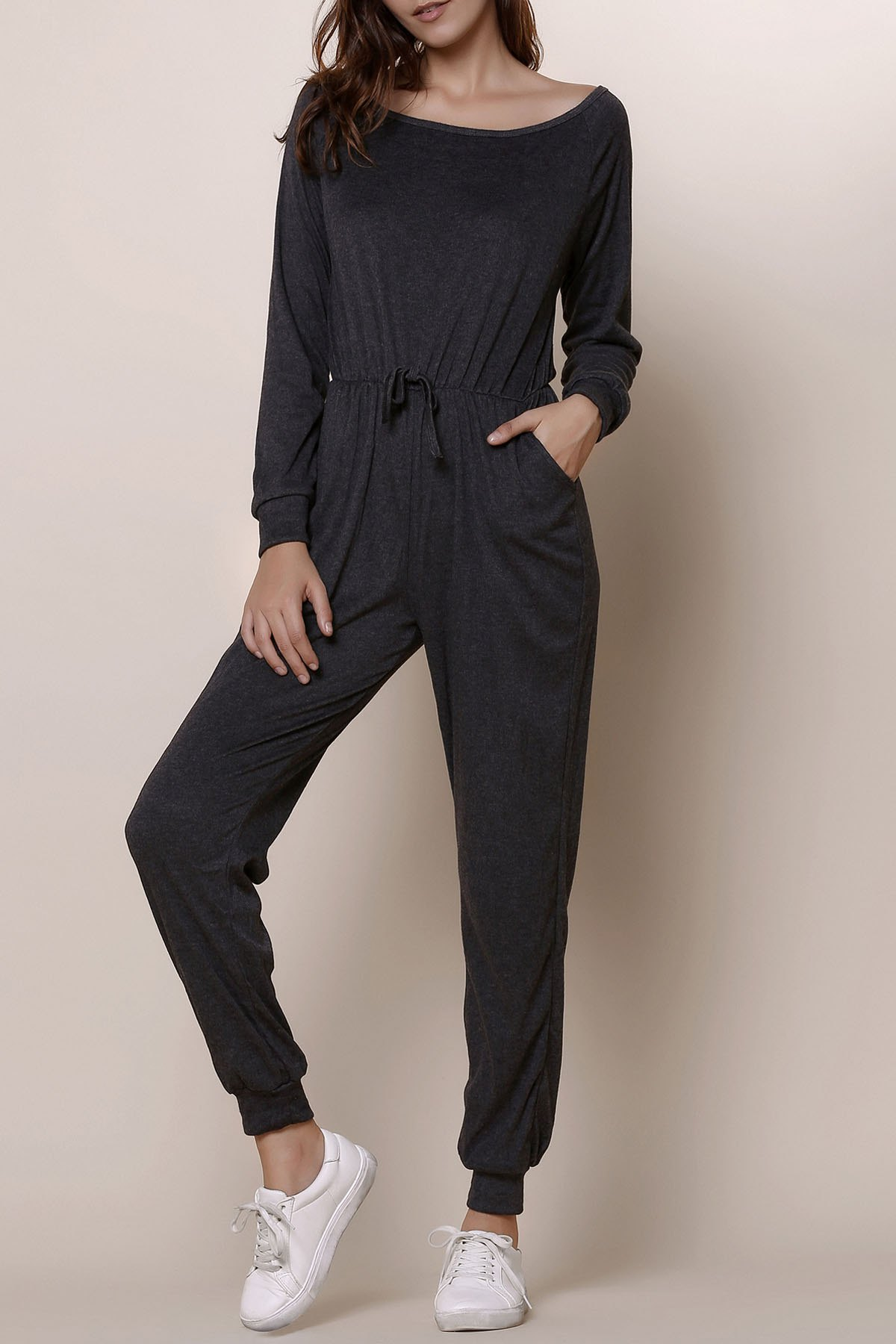 Casual Gray Skew Collar Self-Tie Long Sleeve Jumpsuit For Women - GRAY S