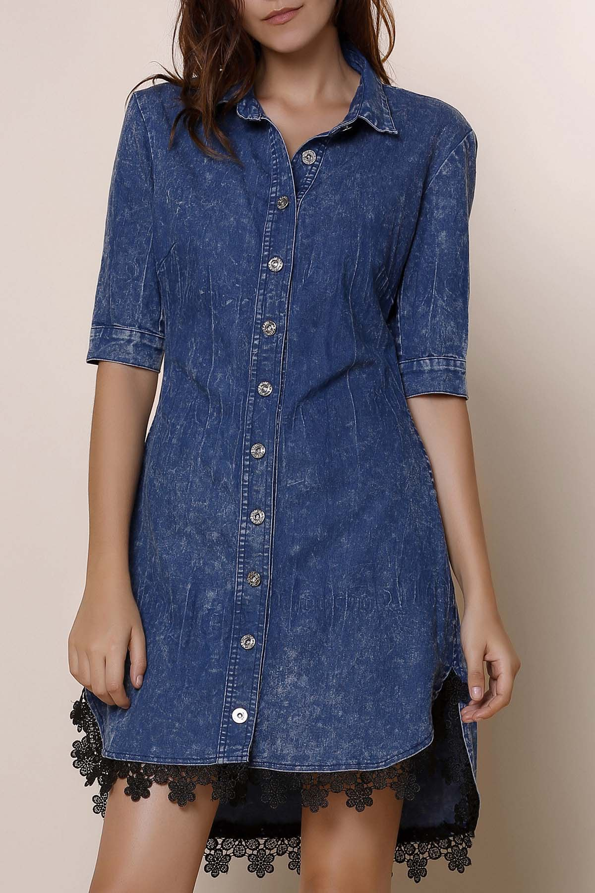 Sexy Half Sleeve Asymmetrical Laciness Women's Denim Dress - BLUE M