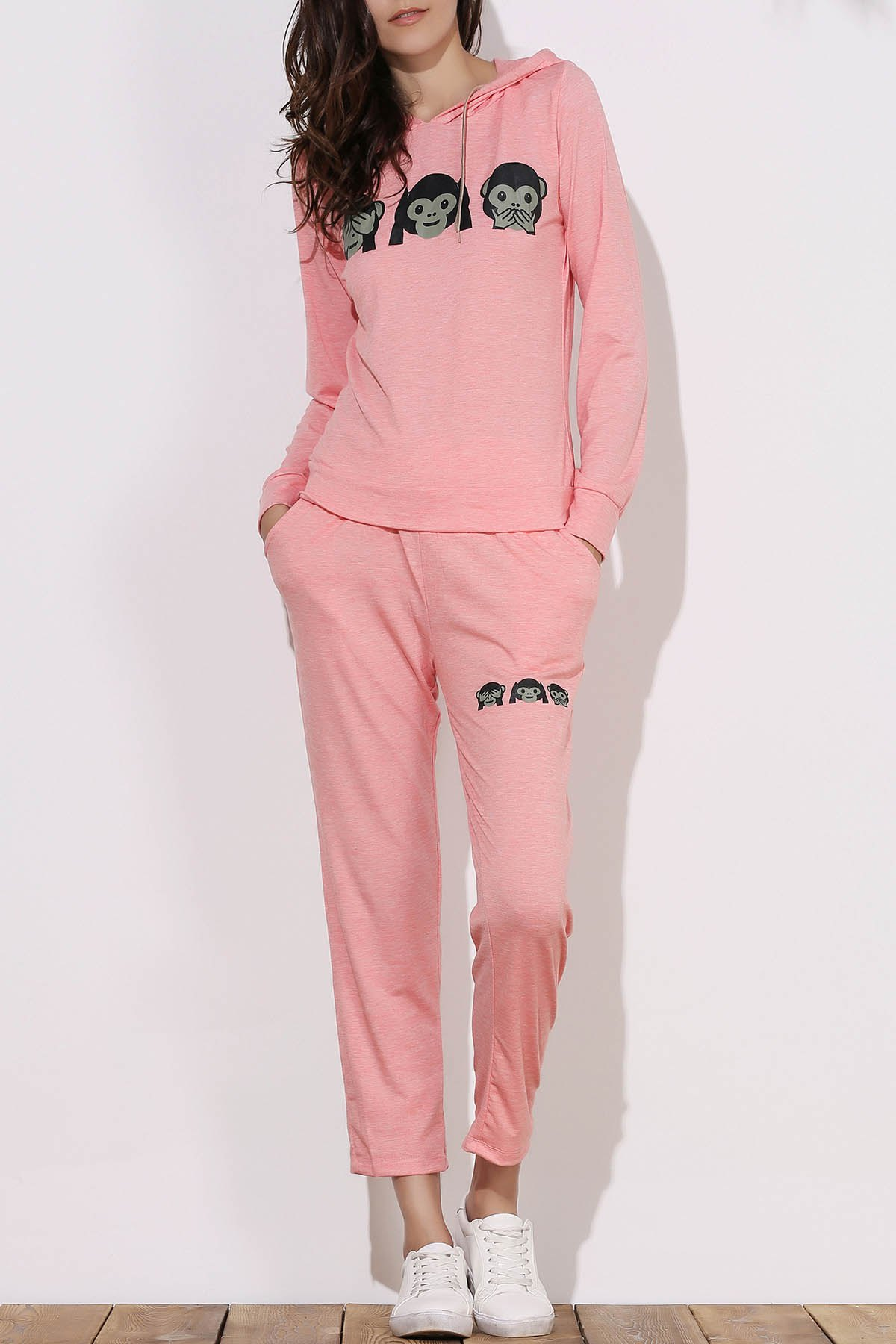 Image of Active Emoji Printed Hooded Pullover Hoodie and Elastic Waist Pants Twinset For Women
