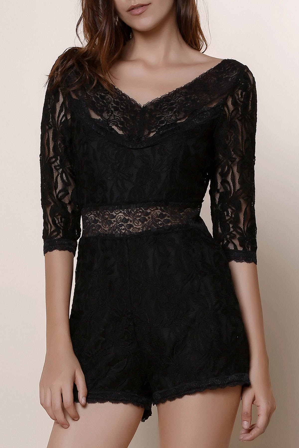 Trendy Women's V-Neck 3/4 Sleeve See-Through Lace Romper - BLACK S