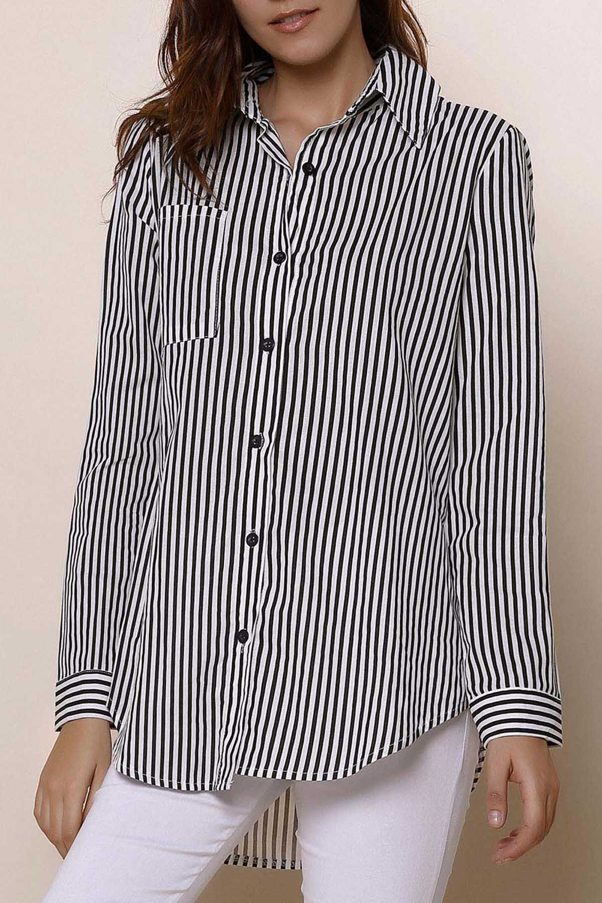 Long Sleeve Button Up Striped Shirt - BLACK S