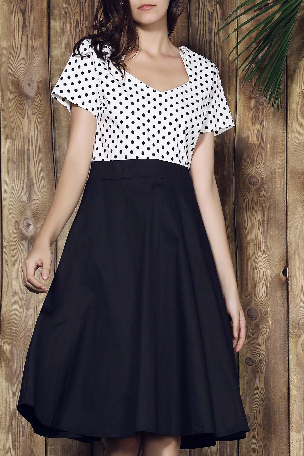 Graceful Short Sleeve Sweetheart Neck Polka Dot Women's Dress - BLACK 2XL
