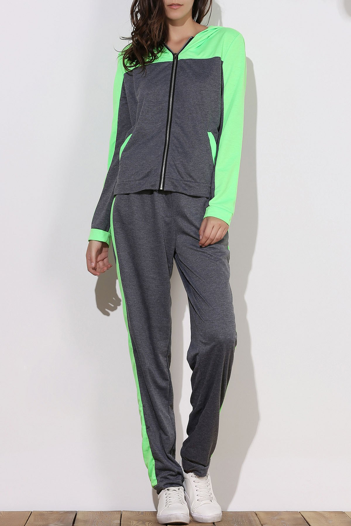 Active Hooded Zippered Color Block Long Sleeve Hoodie and Pants Twinset For Women - GREEN 2XL