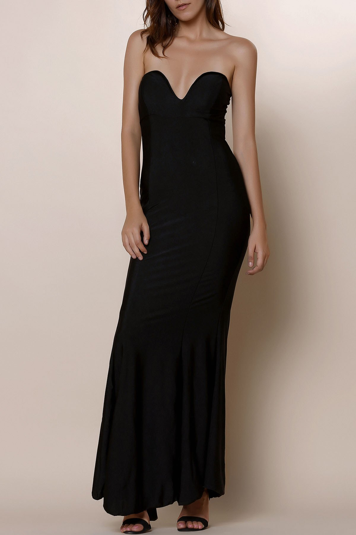 Image of Noble Strapless Solid Color Bodycon Maxi Fishtail Dress For Women