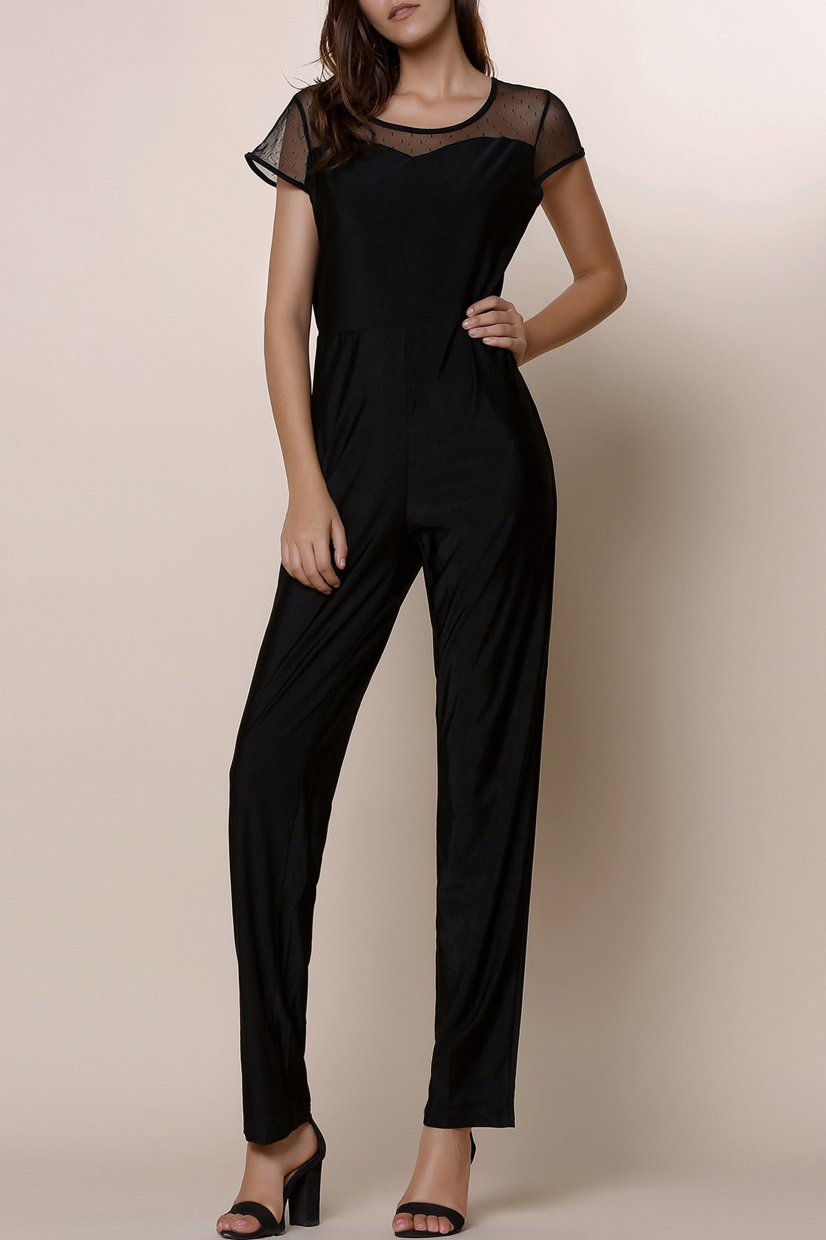 Stylish Gauze Spliced High Waist Bodycon Plus Size Jumpsuit For Women - BLACK 2XL