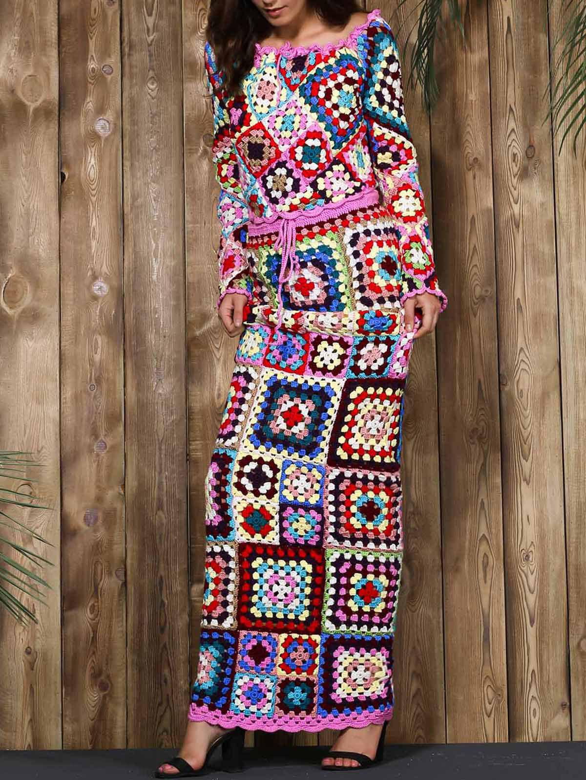 Limited Edition Off-The-Shoulder Granny SquaresCrochet Tank Top+Maxi Skirt For Women