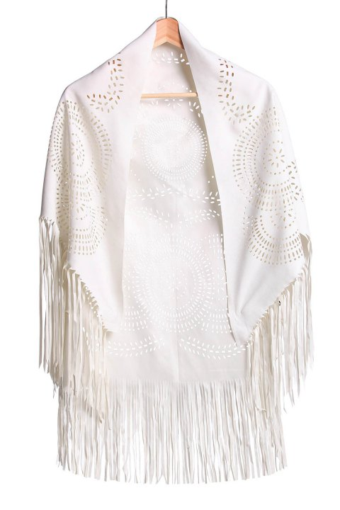Stylish Half Sleeve Fringed Hollow Out Women's Blouse - OFF WHITE M