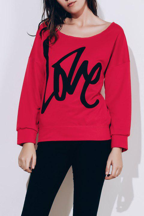 Stylish Long Sleeve Scoop Collar LOVE Letter Pattern Women's Sweatshirt - BLACK M