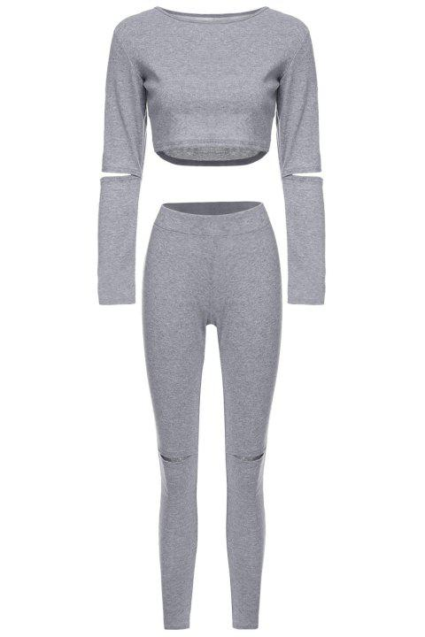 Stylish Long Sleeve Scoop Neck Solid Color Hollow Out Crop Top + Skinny Pants Women's Twinset - GRAY L