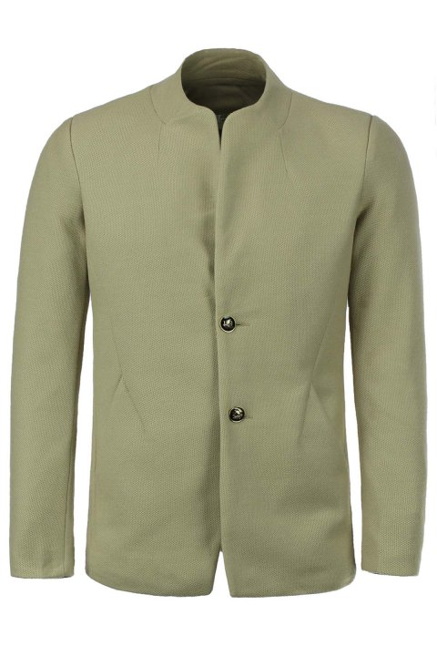 Laconic Stand Collar Solid Color Back Slit Long Sleeves Men's Slimming Jacket - KHAKI 3XL