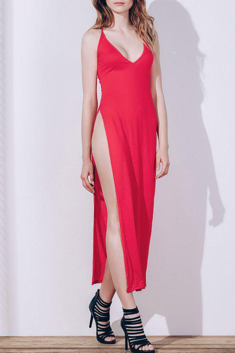 Sexy Women's Spaghetti Strap Red High Slit Dress - RED S