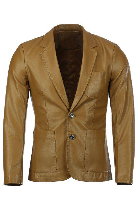 Stereo Patch Pocket Solid Color Lapel Long Sleeves Men's PU Leather Blazer - GINGER 2XL