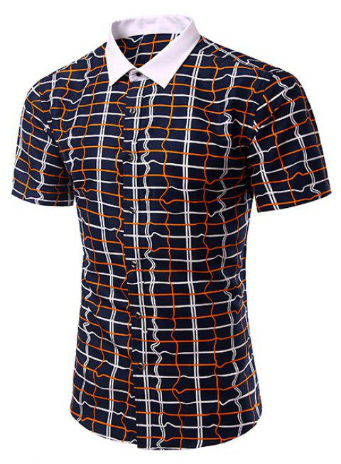 Fashion Turn Down Collar Checked Short Sleeves Shirt For Men - CADETBLUE M