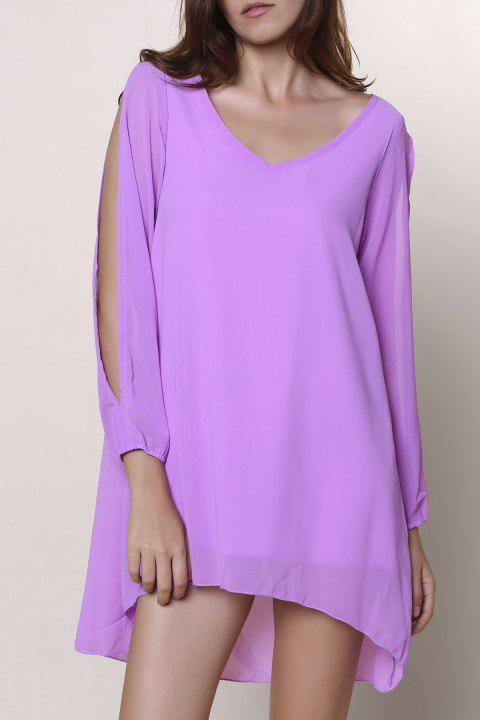 V-Neck Slit Long Sleeve Chiffon Dress - LAVENDER M