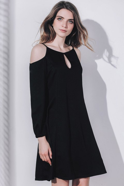 Keyhole Cold Shoulder Long Sleeve Dress - BLACK ONE SIZE(FIT SIZE XS TO M)