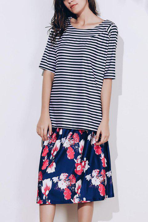 Stylish Scoop Neck Striped T-Shirt and Floral Printed Skirt Twinset For Women - COLORMIX 3XL