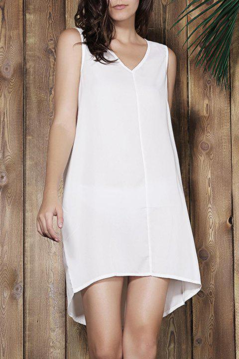Simple Sleeveless V-Neck Loose-Fitting Women's White Dress - OFF WHITE M