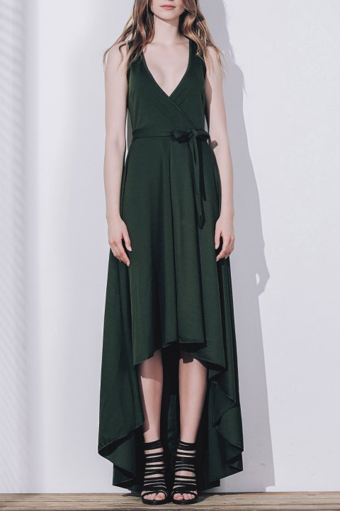 Graceful Solid Color Sleeveless Pleated Asymmetric Maxi Dress For Women - BLACKISH GREEN XL