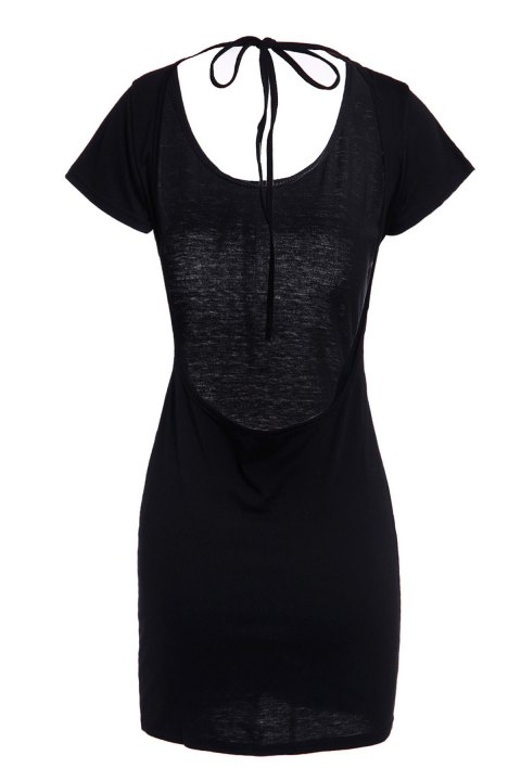 Sexy Women's Scoop Neck Short Sleeve Backless Mini Dress - BLACK S