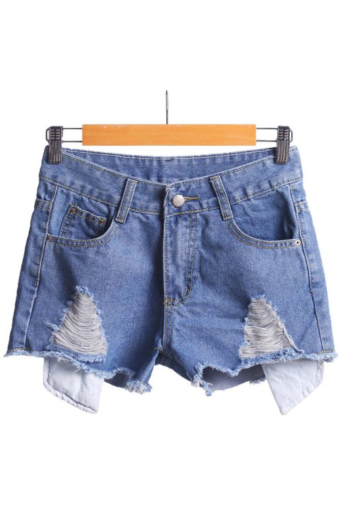 Stylish Ripped Frayed Destroy Slimming Denim Shorts For Women - BLUE S