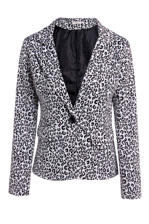 best website 104ca a650e Elegant Women s Lapel Neck Long Sleeve Leopard Print Blazer - BLACK XL